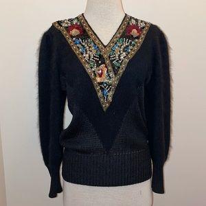 Vintage 70s shannan black beaded sequen collar v neck angora sweater size medium